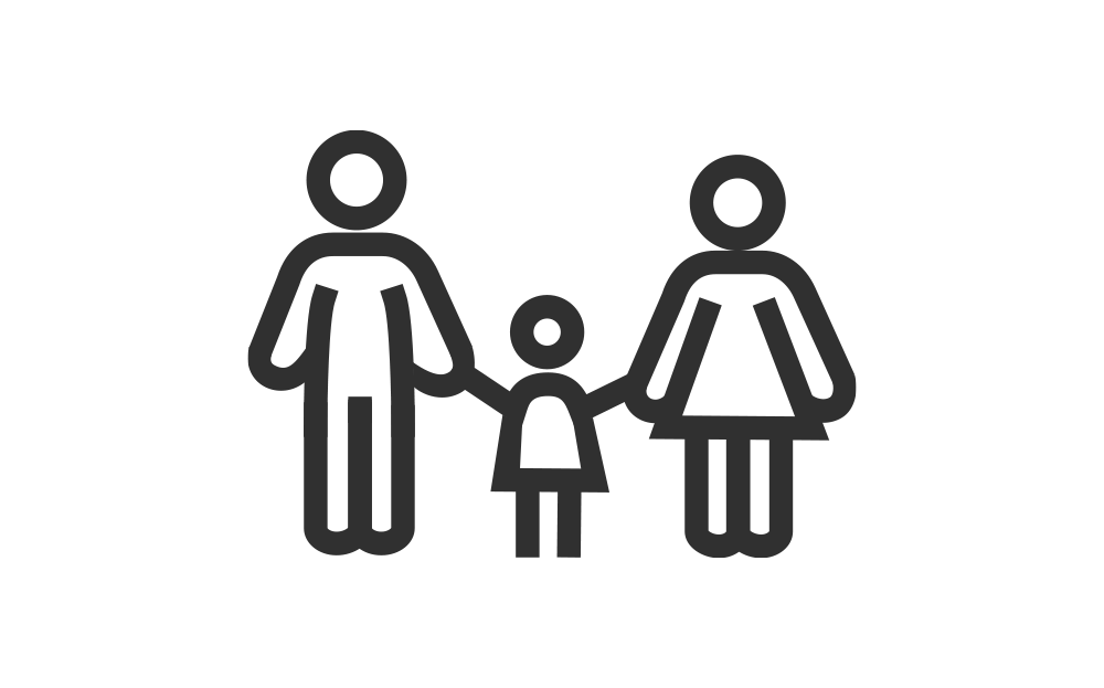 Vector icon of two parents and a child